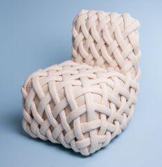 olann knitted wool furniture by claire-anne o'brien Simple Furniture, Modern Furniture, Furniture Design, Furniture Ideas, Silla Art Deco, Crochet Furniture, Cotton Cord, Irish Design, Small Sculptures