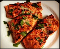 Grilled Salmon with Lemon Garlic Sauce