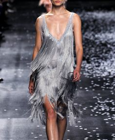 Straight from the Nina Ricci runway a metallic fringe mini perfect for a #wedding #reception #dress