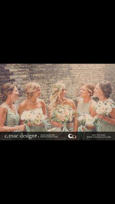 Bridal party updo bridesmaids and bride fall wedding