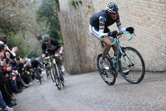 First, check out the bianchi (leading). Second, wth is up with this climb!  Tirreno 2013 stage 6.