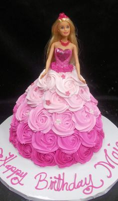 Barbie Doll Birthday Cake, 8th Birthday Cake, Frozen Birthday Cake, Barbie Party, Doll Cake Designs, Cake Decorating Designs, Cake Decorating Techniques, Bolo Barbie, Dress Cake