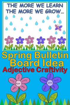 Ideas class room door ideas for spring first grade Easy Bulletin Boards, Spring Bulletin Boards, Preschool Bulletin Boards, Preschool Art, Garden Bulletin Boards, Preschool Garden, 2nd Grade Crafts, Grammar Lesson Plans, Adjectives Activities