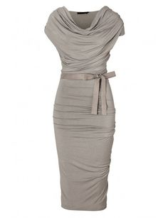 Chiffon Glamorous Gray Hemp Draped Jersey Dress with Belt Mother Of The Bride D. - Chiffon Glamorous Gray Hemp Draped Jersey Dress with Belt Mother Of The Bride Dress Source by hazelgreeneyz - Donna Karan, Vestidos Mob, Vestidos Retro, Mother Of Groom Dresses, Mothers Dresses, Mother Of The Bride Dresses Knee Length, Mob Dresses, Short Dresses, Fitted Dresses