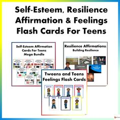 Self-Esteem, Resilience, & Feelings Flash Cards Mega Bundle for Teens from A Plus Learning I Will Be Okay, Self Esteem Affirmations, Building Self Esteem, Research Skills, Affirmation Cards, You Are Blessed, High School Students, My Teacher, Feel Better