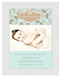 Boys Photo Christening/baptism Invitations