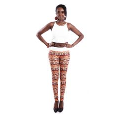 African Print Ahosi Leggings Light Brown #EthnicFashion #EthnicStyle #BoutiqueAfricaine  $34.99