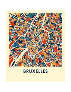 Imprimir mapa de Bruselas mapa afiche a todo Color Belgium Map, Urban Concept, Illustration, Architecture Drawings, City Maps, Word Art, Poster Prints, Graphic Design, Urban Fabric