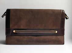 Heavy leather oversized clutch or handbag by founditgreat on Etsy, $50.00