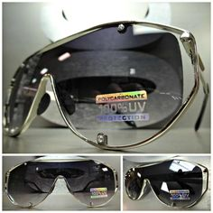 HUGE OVERSIZE VINTAGE RETRO SHIELD Style SUN GLASSES Chrome Metal Frame Flat Top #SPEXXEyewear #VintageRetroShieldStyle