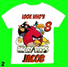 Angry Birds Personalized Boy Birthday Shirt  by FantasyKidsParty