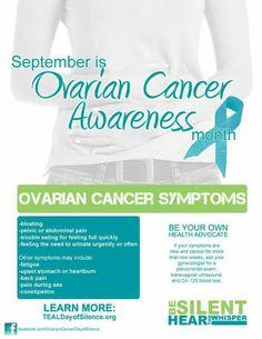 Ovarian Cancer Awareness ~ September is Ovarian Cancer Awareness month. Learn more # TEALDayofsilence.org