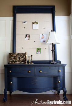 Fabulous Farmhouse Furniture Makeover Masterpieces - The Cottage Market Blue Painted Furniture, Paint Furniture, Furniture Projects, Furniture Makeover, Navy Blue Furniture, Gothic Furniture, Painted Chest, Furniture Cleaning, Furniture Dolly