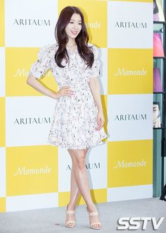 Korean star Park Shin Hye in floral wrap dress. Simplicity is the best canvas.