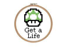 Mario Green Mushroom Counted Cross Stitch Pattern PDF Get a Life Funny