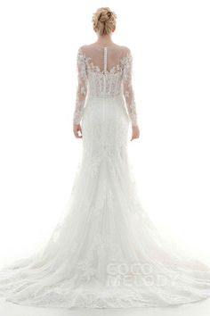 Fantastic Trumpet-Mermaid Illusion Dropped Court Train Lace and Tulle Ivory Long Sleeve Zipper With Buttons Wedding Dress with Appliques and Beading CWXF16003