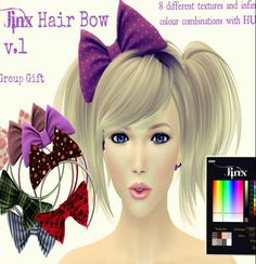 Second Life Freebies and more: Jinx Hair Bow with Combo HUD