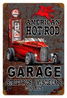 Vintage Hot Rod Mobile Gas Metal Sign, $24.98 (http://www.jackandfriends.com/vintage-hot-rod-mobile-gas-metal-sign/)