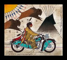 1947 Indian chief by Jim Yellowhawk(Itazipco Band of the Cheyenne River Sioux Tribe and Onondaga/Iroquois)