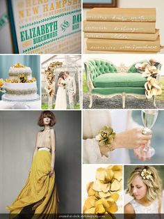 Colour palette: gold and green.