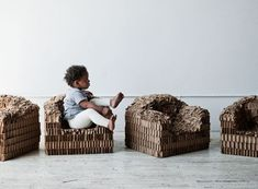 Children's Furniture — Better Living Through Design, made from industrial cardboard and sculpted into shape by hammering.