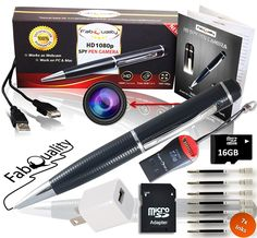 Short but helpful! Premium Full 1080p HD Hidden Camera Spy Pen BUNDLE 16GB SD Micro Card + USB card Reader + 7 INK FILLS + updated battery + USB Plug! - Record Executive Multifunction DVR. Perfect Gift – Easy to Use