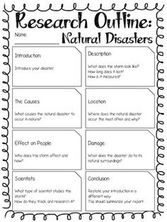 Report Outline: Natural Disasters by Kmwhyte on TpT