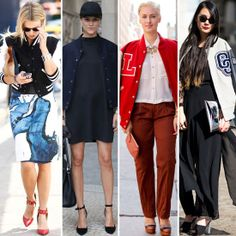 One-Minute Makeover Tip Do the Varsity Thing With a Polished Twist Tomboy Chic, Sporty Chic, Sporty Look, Street Chic, Street Style, Makeover Tips, Sporty Outfits, Varsity Jackets, Dress For You