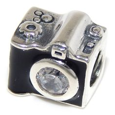 Pro Jewelry 925 Solid Sterling Silver Black Camera with Clear CZ Lens Charm Bead ** See this great product. (This is an affiliate link and I receive a commission for the sales)