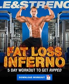 Ignite your fat loss with the Fat Loss Inferno 5 day workout routine. These 5 workouts will have you feeling pumped while incinerating unwanted body fat. Get Ripped Workout, Shred Workout, Workout Men, Fat Workout, Split Workout Routine, Workout Splits, Workout Routines, 5 Day Workouts, Weight Training Workouts