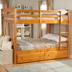 With classic style and the benefits of solid wood construction the Ethan Full-over-Full Bunk Bed will have a use in your home for years and years. This spacious bunk bed is crafted from solid pine and features a natural-colored pine finish covered in a protective lacquer sealant that gives it a soothing glow. It's full of options and versatility. First you can order the bunk bed only if you're just looking for some standard good-looking sleeping
