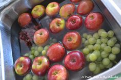 Cleaning fruit - fill sink with water, add 1 C. vinegar, mix.  Add all fruit and soak for 10 minutes.  Water will be dirty and fruit will sparkle with no wax or dirty film. Great for Berries too--keeps them from molding.