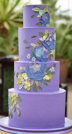 The Prettiest & Unique Wedding Cakes We've Ever Seen Pretty Wedding Cakes, Purple Wedding Cakes, Unique Wedding Cakes, Wedding Cakes With Flowers, Wedding Cake Designs, Wedding Themes, Wedding Colors, Purple Cakes, Wedding Cake Centerpieces