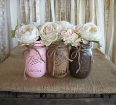 Mason Jars Ball jars Painted Mason Jars by TheShabbyChicWedding