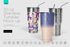 30 oz Stainless Tumbler Mock-up @creativework247