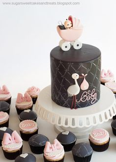 Gray and Pink Baby Shower Cake and Cupcakes by Angela Tran (Sugar Sweet Cakes & Treats) thought of my friend Shelby Torta Baby Shower, Baby Shower Cupcakes, Baby Shower Cakes Pink, Baby Cakes, Sweet Cakes, Fondant Cakes, Cupcake Cakes, Bow Cupcakes, Cup Cakes