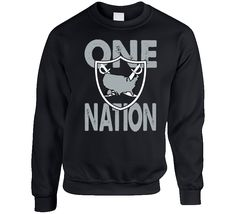 One Nation United States Oakland Football Fan Crewneck Sweatshirt T Shirt Football Fans, Crew Neck Sweatshirt, Graphic Sweatshirt, T Shirt, First Nations, Cali, United States, The Unit