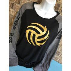 Volleyball Laces Shirt Matte Metallic Gold Ball Volleyball Mom Shirt Long Sleeve Preppy Tee