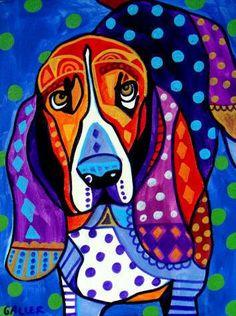 8x10 Basset Hound Art Panel Print Hardboard by HeatherGallerArt, $24.99