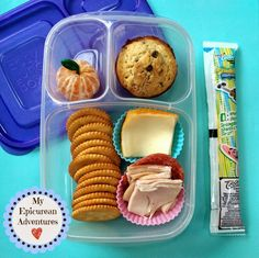 DIY Cheese and Cracker Lunchables and a Muffin in @easylunchboxes