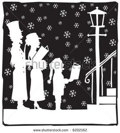 vintage christmas silhouettes | Christmas carolers at doorstep. - stock vector