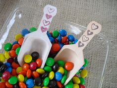Wood Scoop with Hearts and Crystals for by dazzlingexpressions, $4.00