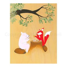 Afternoon Tea  art print featuring a fox and a pig by malathip, $20.00