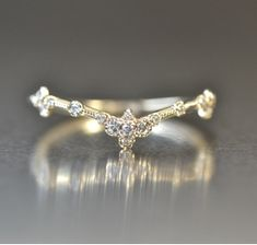 Thin V Diamond Ring