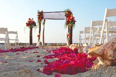 Simple, yet beautiful beach wedding decor.