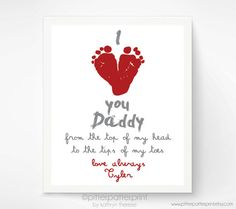Valentines Day Gift for New Dad - I Love You Daddy Baby Footprint Art Print, Red Heart,  Baby's First Valentines Day, Gift for Grandfather