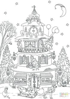 Doodle Art Victorian House Coloring Page Poster B&W