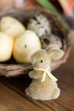 Decoração para um almoço de Páscoa - mesa posta em amarelo e laranja - coelhos peludinhos, ninho e ovos