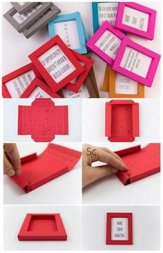 bilderrahmen aus buntem papier basteln, bilder mit sprüche
