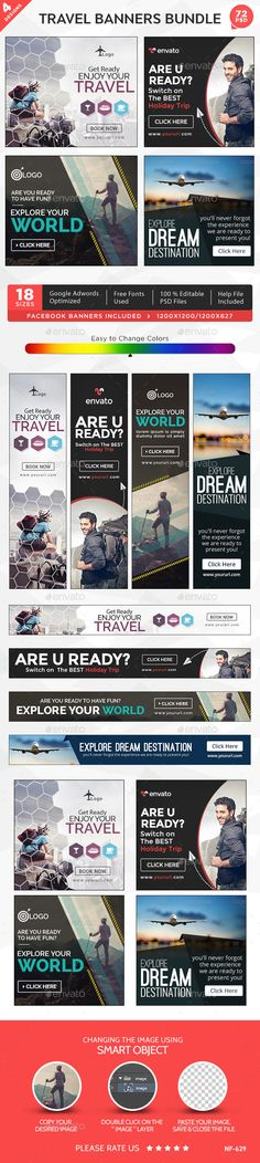 Tours & Travels Banners Bundle - 4 Sets Template #design #ads Buy Now: http://graphicriver.net/item/tours-travels-banners-bundle-4-sets/12877329?ref=ksioks